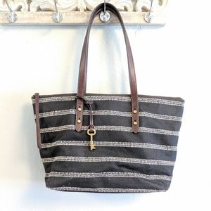 Fossil Black Canvas Tote Bag with Arrow Stripes